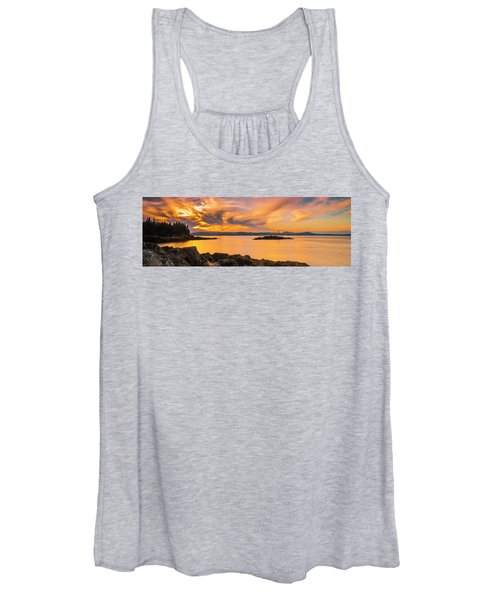 Maine Rocky Coastal Sunset In Penobscot Bay Panorama Women's Tank Top