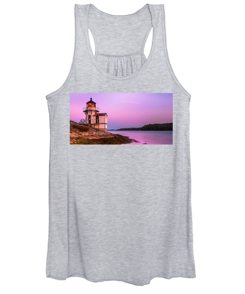 Maine Squirrel Point Lighthouse On Kennebec River Sunset Panorama Women's Tank Top