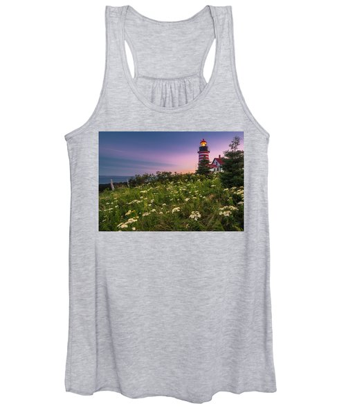 Maine West Quoddy Head Lighthouse Sunset Women's Tank Top