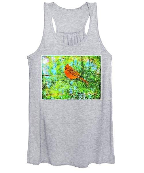 Male Cardinal In Juniper Tree Women's Tank Top