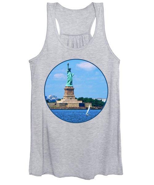 Manhattan - Sailboat By Statue Of Liberty Women's Tank Top
