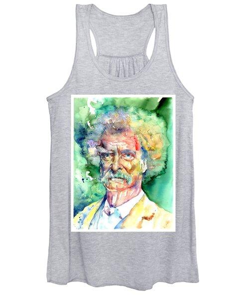 Mark Twain Watercolor Women's Tank Top