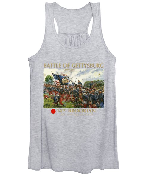 Men Of Brooklyn - The 14th Brooklyn 14th N.y.s.m. Charge On The Railrad Cut - Battle Of Gettysburg Women's Tank Top