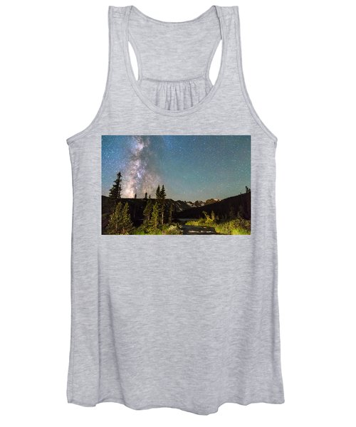 Milky Way Magic Above Longs Lake And The Indian Peaks Women's Tank Top