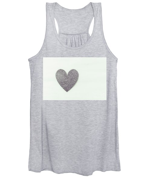 Minimalistic Silver Glitter Heart Women's Tank Top