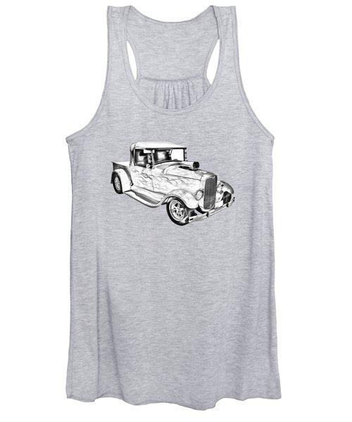 Model A Ford Pickup Hotrod Illustration Women's Tank Top