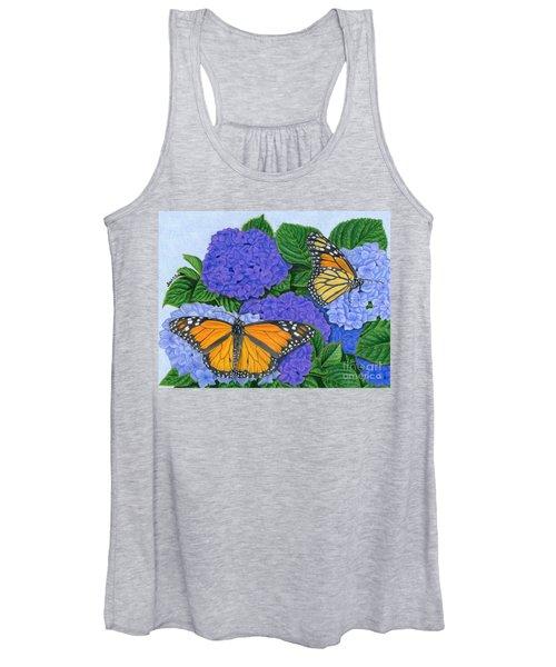 Monarch Butterflies And Hydrangeas Women's Tank Top