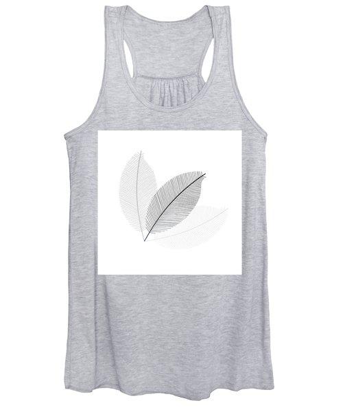 Monochrome Leaves Women's Tank Top
