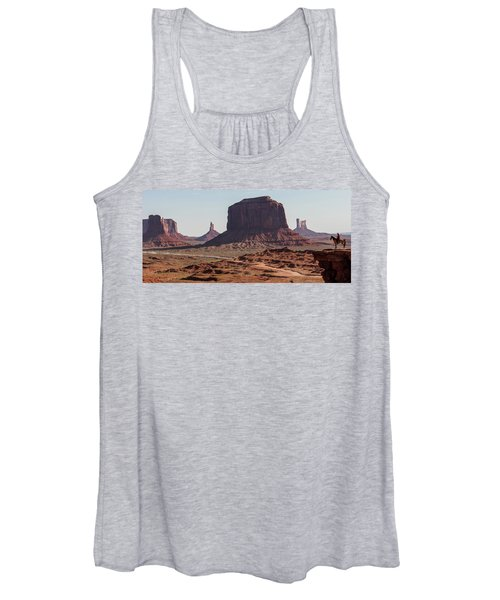 Monument Valley Man On Horse Sunrise  Women's Tank Top