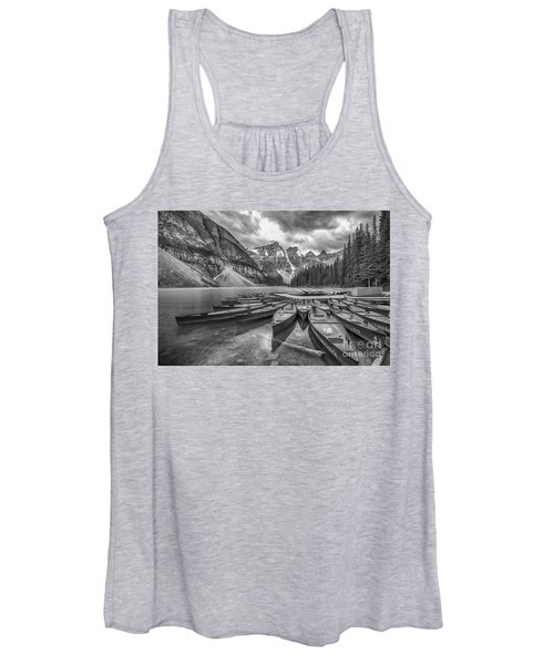 Moraine Lake In Black And White Women's Tank Top