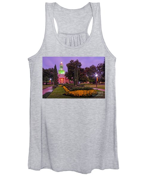 Morning Twilight Shot Of Pat Neff Hall From Founders Mall At Baylor University - Waco Central Texas Women's Tank Top