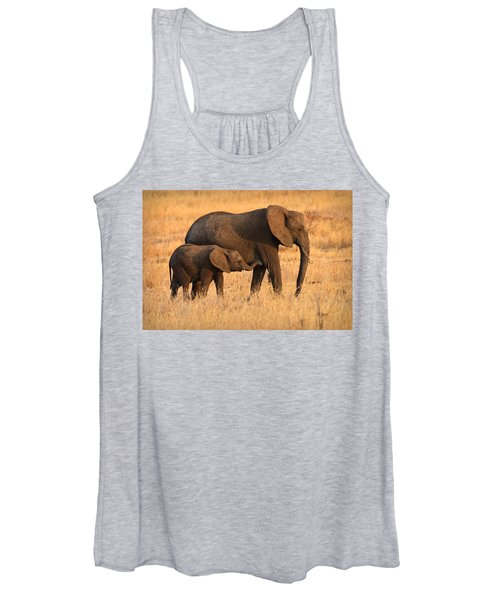 Mother And Baby Elephants Women's Tank Top