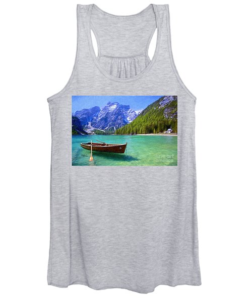 Mountain And Clear Lake With Boat Women's Tank Top