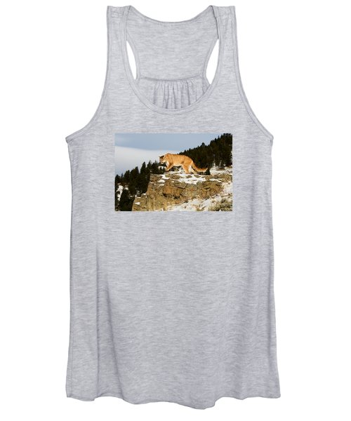 Mountain Lion On Rocks Women's Tank Top