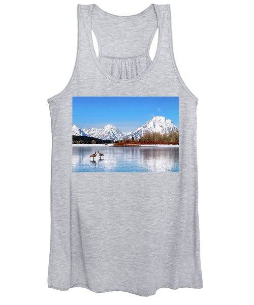 Mt Moran With Geese Women's Tank Top
