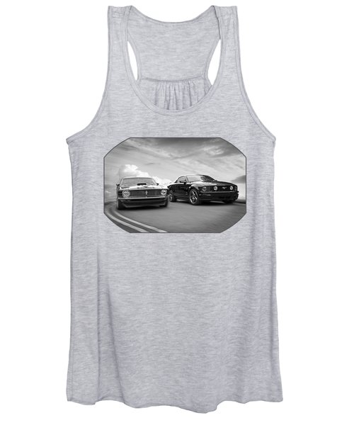 Mustang Buddies In Black And White Women's Tank Top
