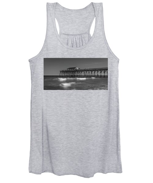 Myrtle Beach Pier Panorama In Black And White Women's Tank Top