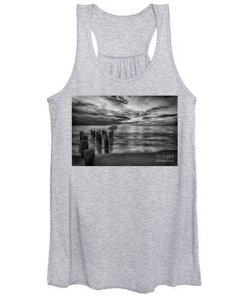 Naples Sunset In Black And White Women's Tank Top