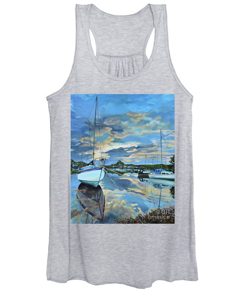 Nestled In For The Night At Mylor Bridge - Cornwall Uk - Sailboat  Women's Tank Top