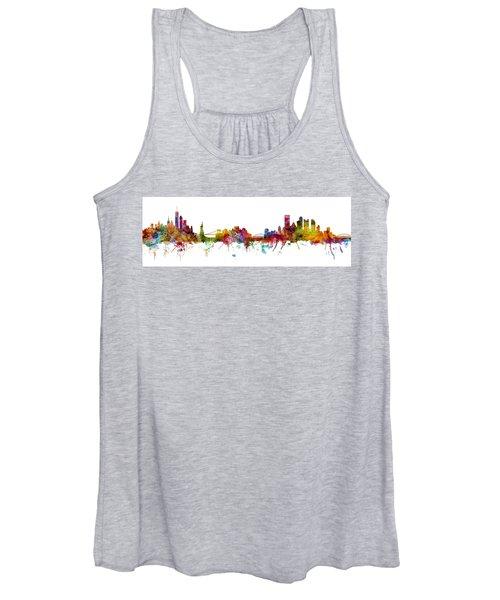 New York And Pittsburgh Skyline Mashup Women's Tank Top