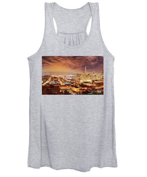 Night Panorama Of San Francisco And Oak Area Bridge From Ina Coolbrith Park - California Women's Tank Top