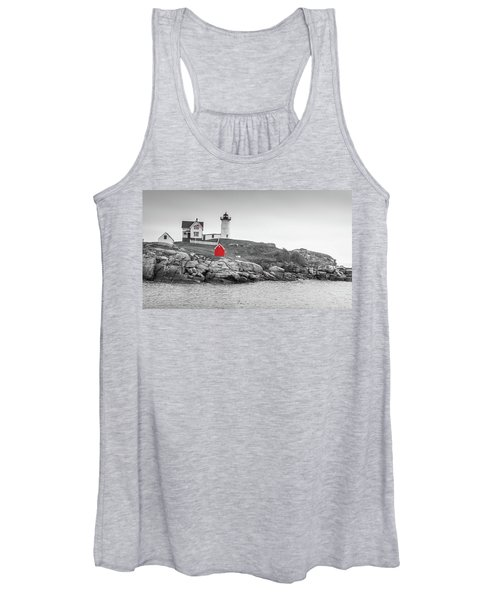 Nubble Lighthouse In Color And Black And White Women's Tank Top
