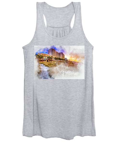 Ocean Drive Sunrise Watercolor Women's Tank Top