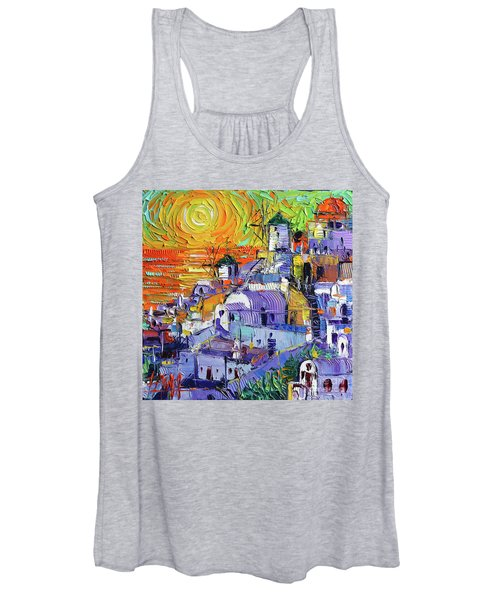 Oia Santorini Magic Light Mini Cityscape 09 - Modern Impressionist Palette Knife Oil Painting Women's Tank Top