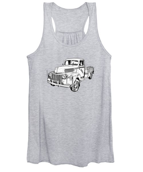 Old Flat Bed Ford Work Truck Illustration Women's Tank Top