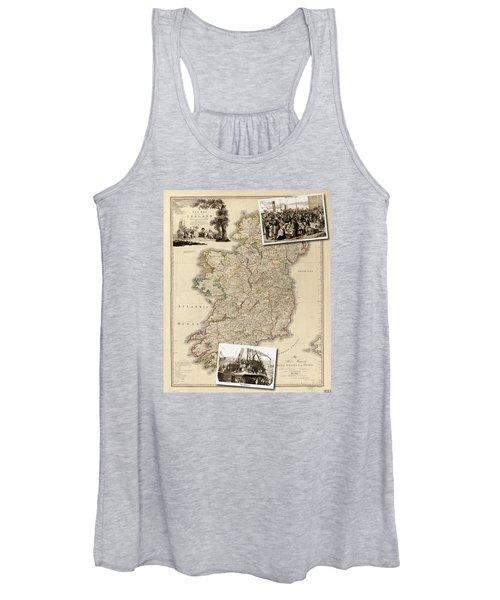 Vintage Map Of Ireland With Old Irish Woodcuts Women's Tank Top