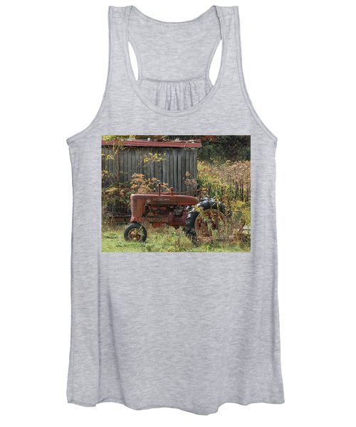 Old Tractor On The Farm. Women's Tank Top