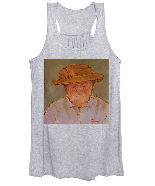 Old Woman With Yellow Hat Women's Tank Top