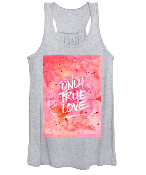 Only True Love Handpainted Abstract Watercolor Red Pink Orange Women's Tank Top