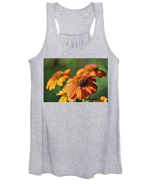Orange Cone Flowers In Morning Light Women's Tank Top