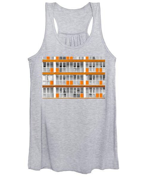 Orange Exterior Decoration Details Of Modern Flats Women's Tank Top