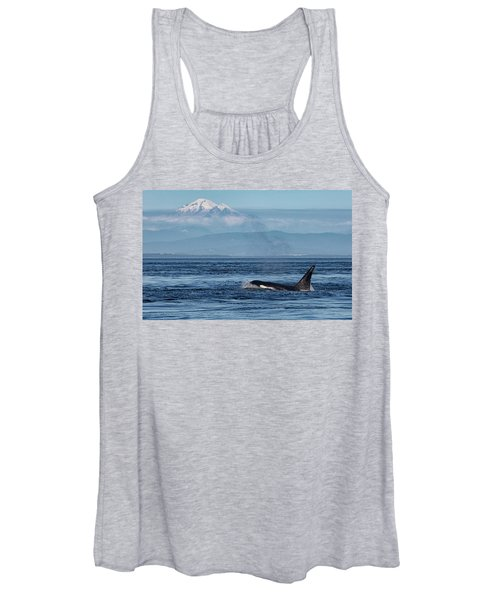 Orca Male With Mt Baker Women's Tank Top