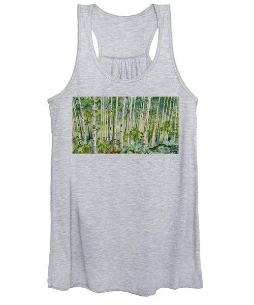 Original Watercolor - Summer Aspen Forest Women's Tank Top