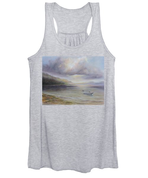 Beach By Sruce Run Lake In New Jersey At Sunrise With A Boat Women's Tank Top