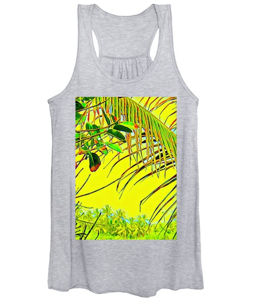 Palm Fragment In Yellow Women's Tank Top