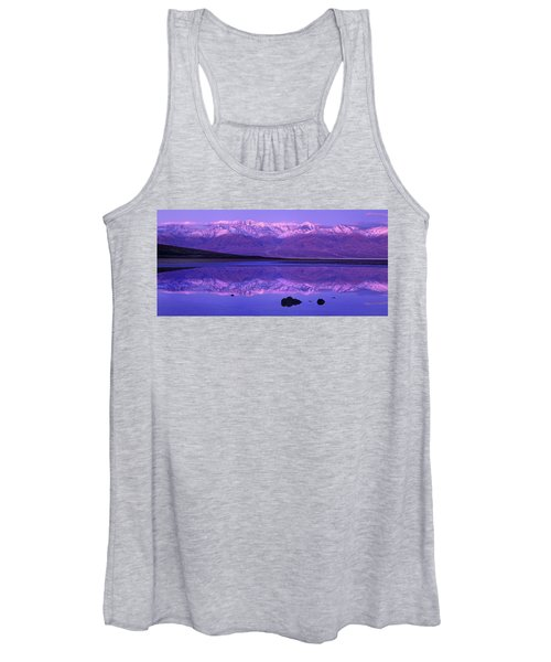 Panorama Badwater And The Panamint Range At Sunrise Death Valley Women's Tank Top