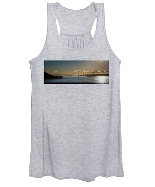 Panoramic View Of Downtown San Francisco Behind The Golden Gate  Women's Tank Top