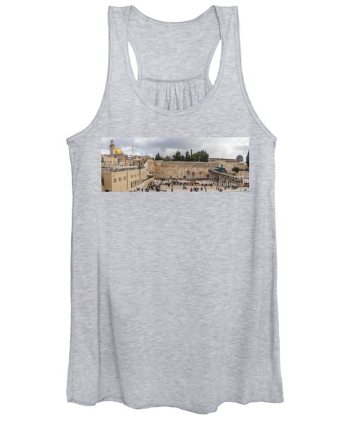 Panoramic View Of The Wailing Wall In The Old City Of Jerusalem Women's Tank Top