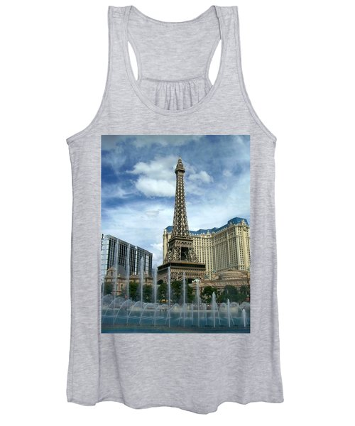 Paris Hotel And Bellagio Fountains Women's Tank Top