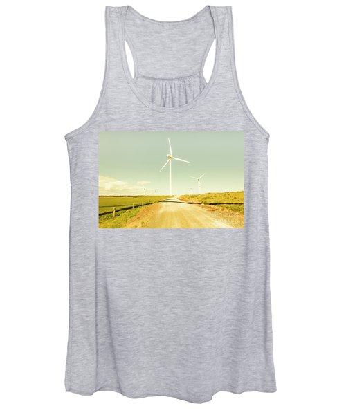 Peaceful Pastel Wind Farm Women's Tank Top