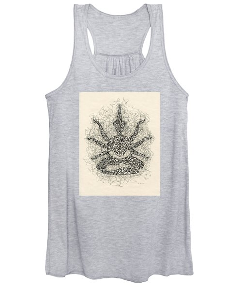 Pen And Ink Drawing Buddha  Women's Tank Top