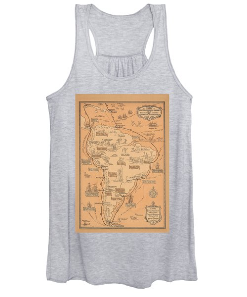 Pictorial Map Of South America - South American Cruise - Antique Illustrated Map, 1927 Women's Tank Top