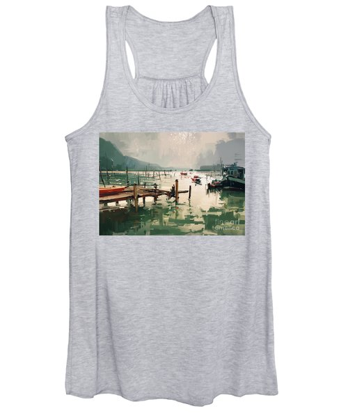 Women's Tank Top featuring the painting Pier by Tithi Luadthong