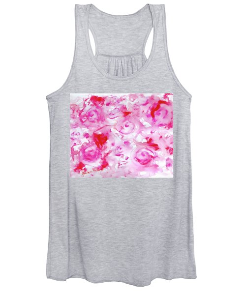 Pink Abstract Floral Women's Tank Top