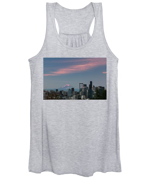 Pink Highlights Over Seattle-mt. Rainier Women's Tank Top