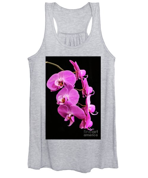 Pink Orchid With Black Background Women's Tank Top